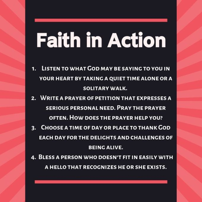 Suggestions for putting your faith into action.
